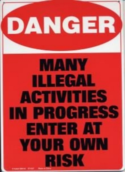 """Danger Tin Sign - 8 1/2"""" X 11.75"""""""