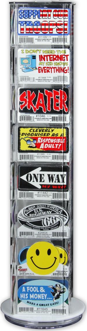 Mini Sticker Display - acrylic - 30 Designs, 12 per design - 360 stickers
