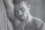 Sexy Steely Blue Eyes Poster Image