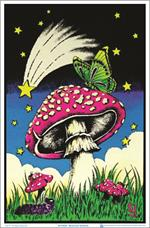 Mushroom Butterflies Black Light Poster - 23