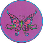 BUTTERFLY  - ROUND STICKER - 2 1/2
