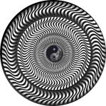 YIN YANG OP ART ROUND STICKER - 2 1/2