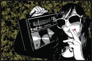 "Steez ""Boombox Smoking Girl"" Poster - 36"" X 24"""