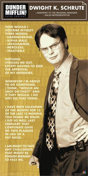"The Office Dunder Mifflin Dwight K. Schrute Slim Print - 12"" X 36"""