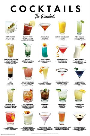 "Cocktails - The Essentials Poster - 24"" X 36"""