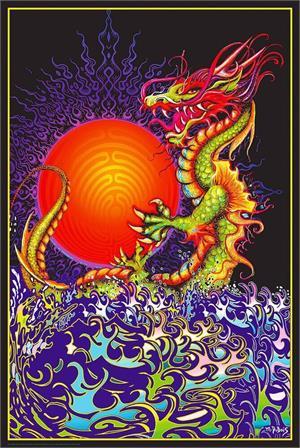 Dragon Rising Non-Flocked Blacklight Poster Image