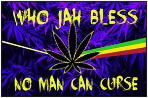 Jah Bless Non-Flocked Blacklight Poster Image