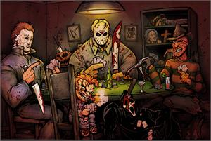 "SLASHERS PLAYING POKER POSTER - 36"" X 24"""