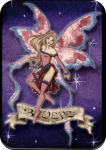 "AMY BROWN - BELIEVE  FAIRY LARGE STICKER - 2 1/2"" X 3 3/4"""