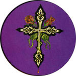 "CELTIC CROSS & ROSES - ROUND STICKER - 2 1/2"" ROUND"