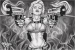 Marilyn Monroe Guns by: James Danger Harvey Poster - 24