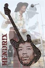 JIMI HENDRIX GUITAR LYRICS Poster - 24