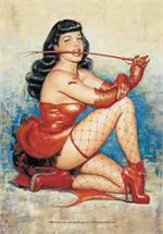 BETTIE PAGE - RED WHIP FABRIC POSTER
