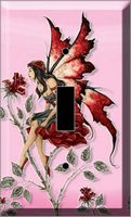 LIGHT SWITCH PLATE - RED ROSE  FAIRY - AMY BROWN