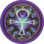 MIKIO KENNEDY - ANKH ROUND STICKER - 2 1/2