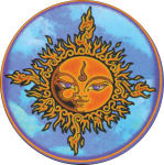 MIKIO KENNEDY - SUN FACE ROUND STICKER - 2 1/2