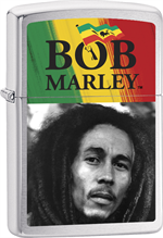 Bob Marley Zippo Lighter - Face & Flag Brushed Chrome