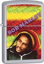 Bob Marley Zippo Lighter - Rasta Satin Chrome