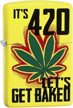 Marijuana It's 420 Let's Get Baked Zippo Lighter - Yellow Matte - C1406344